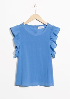 & Other Stories   Ruffle Sleeve Cotton Top