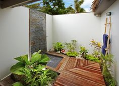 Amazing Outdoor Tropical Bathroom Brass Shower Head Wooden Deck ...