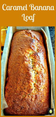Moist Caramel Banana Loaf Cake: lovely texture from the soft cake contrasting with light, crunchy nuts and a delicious caramel and banana flavour Bread Cake, Loaf Cake, Dessert Bread, Just Desserts, Delicious Desserts, Dessert Recipes, Yummy Food, Kolaci I Torte, Little Lunch