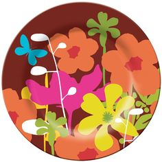 French Bull, Shadow Flower, Melamine, Plate, Bright, Colorful, Fun, Indoor, Outdoor, Entertaining, Every Day, Happy