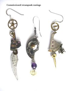 Commission: Steampunk Earrings by clockwork-zero.deviantart.com on @DeviantArt