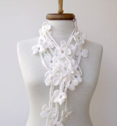 Double WHITE  BLOOM ScarfReady for shipping by knittingshop, $27.00