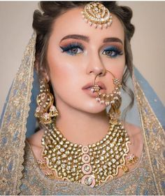 Light Blue Metallic eye makeup for the wedding. makeup indian 13 Eye Makeup Colors that are Perfect for a Peppy Summer Bride Bridal Makeup Images, Bridal Eye Makeup, Bridal Makeup Looks, Bride Makeup, Bridal Beauty, Wedding Beauty, Pakistani Bridal Makeup, Indian Bridal Fashion, Pakistani Bridal Dresses