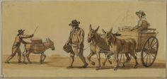 Man driving a donkey, and man leading a cart by Paul Sandby (18th century - 19th century) © The Samuel Courtauld Trust, The Courtauld Gallery, London  Paul Sandby