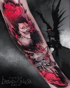 Death Note Tattoo with Ryuk! Looks creepy but dope! Dope Tattoos, Badass Tattoos, Body Art Tattoos, New Tattoos, Sleeve Tattoos, Tatoos, Circle Tattoos, Watch Tattoos, Hand Tattoos