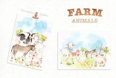 Ad: Farm Animals Watercolor clipart by everysunsun on The set of high quality hand painted watercolor farms animals and elements. A pig, sheep, goat, chicken, cow and other animal illustrations Farm Animal Nursery, Baby Farm Animals, Forest Animals, Woodland Animals, Nursery Prints, Nursery Art, Animals Watercolor, Kindergarten, Graphic Illustration