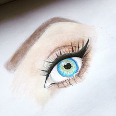 Here's what I've got so far Puddins, this was done entirely in colored pencils and Smashbox Full Exposure eyeshadow palette❤️ can anyone guess who these eyes belong to? Also my paper didn't agree with blending 0.0