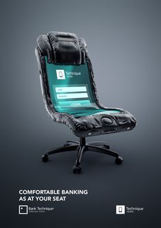 "Bank Technique approached us to create prints for the new product of theirs. We have developed a company slogan. ""Convenient banking without leaving your seat"" . Banking transactions can be either on the phone ( Creative Advertising, Banks Advertising, Ads Creative, Creative Posters, Print Advertising, Advertising Campaign, Creative Design, Online Advertising, Web Design"