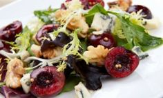 Grilled Cherry & Arugula Salad with Cambozola Cheese