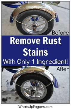 If you are looking for an easy DIY tutorial on how to remove rust stains from a bicycle, here are two rust removal methods worth trying, because they work! Deep Cleaning Tips, House Cleaning Tips, Diy Cleaning Products, Cleaning Solutions, Spring Cleaning, Cleaning Hacks, Cleaning Rust, Car Cleaning, Cleaning Chrome