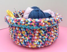 Large crochet basket measuring approx. 15cm H x 22cm Dia. Made from 50%…