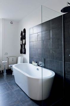Black and white bathroom at Danish fashion designer Karen Simonsen