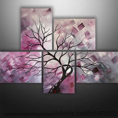 Abstract Modern Landscape Tree Painting Art by Gabriela 44x32 black white red on Etsy, $249.00
