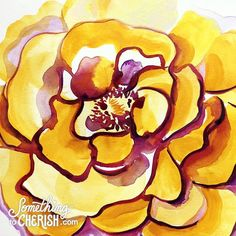 """""""Golden Rose"""" inspired by my Dad's photo of a yellow rose growing at our family cottage in #goldencolorado Going through some life and death situations with my husband @hummelillustration this June has really made it clear what is important in life and what's not. Soak in the joy of every moment while it's still called """"today"""" and stop to express your love and gratitude for the blessings all around you. Life is short let's make it #somethingtocherish #stopandsmelltheroses #friendshipforever"""