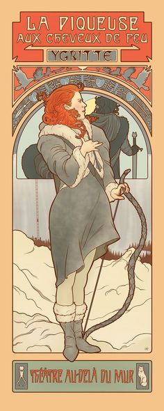 Ygritte, The Fire Hair Stitcher, Game of Thrones in the style of nouveau painter Alphonse Mucha by Elin J