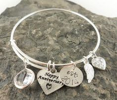 Happy Anniversary Personalized Hand Stamped Adjustable Wire Bangle Bracelet