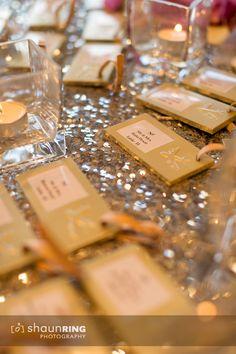 Gold Indian reception escort card luggage tags via IndianWeddingSite.com