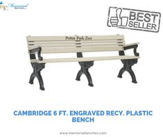 Cambridge 6 Ft. Engraved Recy. Plastic Bench. #memorialbenches #bench #green #sky #park #art #design #seating #usa #likeformore