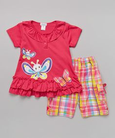 Love this Fuchsia Butterfly Top & Plaid Shorts - Infant, Toddler & Girls on #zulily! #zulilyfinds