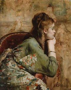 """""""Meditation"""", by Alfred Stevens  (Belgian, 1823-1908)."""