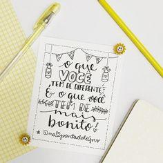 Não se compare! Imagine se todo mundo fosse igual?!? 💛✏️ . #napontadolapis #frases #lettering #letteringbr #typo #typography #handlettering #nanquim #desenho #draw #letras #pen #brushpen #paper #arte #art #design #caligrafia #parede #chalkboard #bomdia #goodmorning #sexta #friday #diferente Letter E, Lettering Tutorial, Brush Pen, Doodles, Typography, Bullet Journal, Study, Writing, Feelings