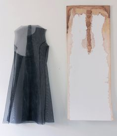 Diana Puglisi - Bringing the Absence Presence, 2015. Window screen, thread, acrylic paint, fabric dye, and interfacing, 46 x 22 inches (left), 52 x 20 inches (right). Courtesy of the artist.