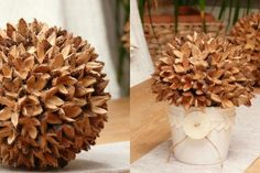 Crafting with beechnuts, making handicrafts with chestnuts, making crafts with coffee beans, handicrafts … - Easy Crafts for All Winter Crafts For Kids, Autumn Crafts, Nature Crafts, Diy For Kids, Crafts To Make, Easy Crafts, Halloween Decorations, Christmas Decorations, Styrofoam Ball