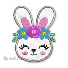 Bunny Rabbit With Flower Headband Applique Machine Embroidery Design