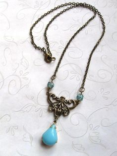 Blue jewel necklace set glass teardrop glass por botanicalbird