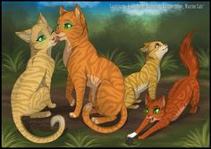 Firestar and Sandstorm with their kits Leafpool and Squirrelflight!! Leafpool should be a tabbyyyyy thoughhh