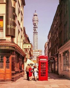 The opening of the Post Office Tower, London, on this day October, Once Britain's tallest building. Prime Minister Harold Wilson made the first telephone call Vintage London, Old London, London City, Uk History, London History, Asian History, Tudor History, British History, History Facts
