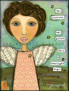 Mixed Media Art Starlight Angel 8x10 print Whimsical by JCSpock