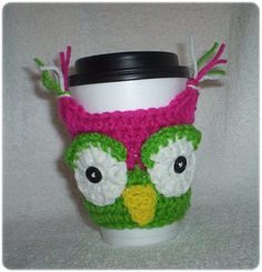 hand-crocheted #coffee cozy #owl