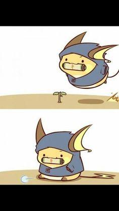 Raichu, chibi, cute, ninja, funny; Pokemon