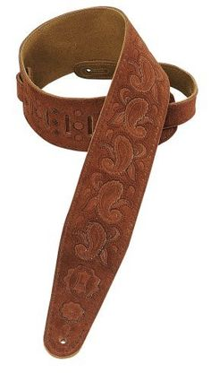 """Levy's Leathers PMS44T03-RST 3-inch Suede-Leather Guitar Strap Tooled with a Paisley Pattern,Rust by Levy's Leathers. $60.98. 3"""" suede leather guitar strap tooled with a paisley pattern, with suede backing. Adjustable from 36"""" to 50"""". Also available in extra long (XL), which adds 12"""" to overall length."""