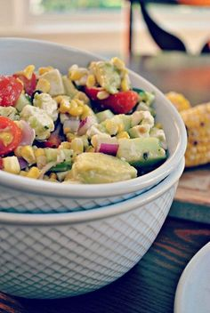 Avocado & Grilled Corn Salad w/ Cilantro Vinaigrette - this is amazingly deelish!  I subbed a bag of trader joe's fire roasted corn for the 5 ears, and red wine vinegar for the sherry...omg i'm in love =)  will be great at a bbq this summer too!