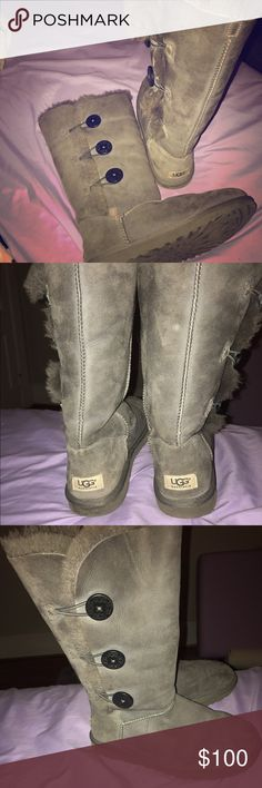 "3 button, tall ugg boots ""Bailey"" style, 3 button, gray  tall ugg boots. Normal wear. they are super cute and comfy, I just haven't worn them in a while and it's time to let them go! UGG Shoes Winter & Rain Boots"