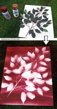 DIY wall art with leaves and spray paint. But gold leaves on gray.