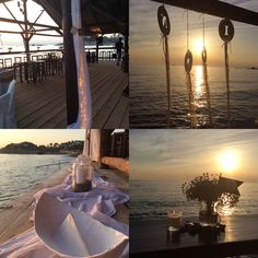 Beach wedding party! Sunset, love, happiness, candles, dream catcher.
