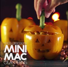 Pumpkin Shaped Dishes And Food Ideas – Genius Kitchen Mini Mac-O-Lanterns Halloween Desserts, Comida De Halloween Ideas, Bolo Halloween, Postres Halloween, Hallowen Food, Halloween Food For Party, Halloween Decorations, Halloween Recipe, Halloween Breakfast