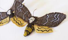 Image of Textile Jewelry Death's Head Hawk Moth Brooch