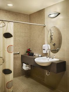 European-Style bathroom provides ample space for Caregiver and Patient