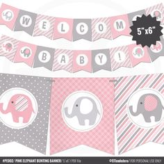 Pink Elephant Baby Shower Banner - Girl Baby Banner - Pink and Gray Baby Shower Decorations - Baby Girl Decor - Printable Garland Fiesta Baby Shower, Grey Baby Shower, Elegant Baby Shower, Girl Baby Shower Decorations, Girl Decor, Baby Shower Themes, Shower Ideas, Baby Banners, Shower Banners