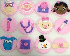 Imgs For > Edible Doc Mcstuffins Cupcake Toppers Cupcake Toppers, Cupcake Cake Designs, Fondant Toppers, Doc Mcstuffins Cookies, Doc Mcstuffins Birthday Party, Kylie Birthday, 6th Birthday Parties, Kid Cupcakes, Cupcake Cookies