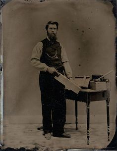 Full Plate Occupational Tintype C 1880 Handsome Carpenter Prob Chester Co PA | eBay