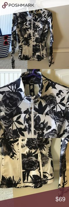 Lululemon Jacket⚽️ Lululemon Jacket⚽️.   Very fun Black & white floral print, thumb holes, front zipper pockets, excellent preowned condition!  Hang tag is missing but this is a size 4. No TRADES! lululemon athletica Jackets & Coats