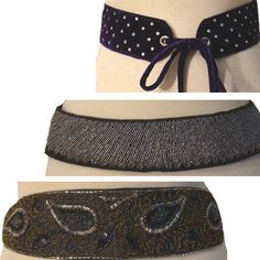 1980s Sequin Beaded Vintage  Rhinestone Belt Lot La Regale 3 Belts