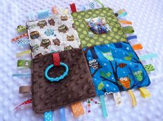 Sensory Blankie--love the ribbon with ring attached