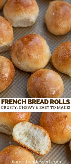 French Bread Rolls are the PERFECT yeast bread to serve on the weekend because they're warm and fluffy on the inside, crusty on the outside, and incredibly easy to make! dinner rolls Crusty French Bread Rolls - Dinner, then Dessert Homemade Dinner Rolls, No Yeast Dinner Rolls, Easy Homemade Rolls, Quick Dinner Rolls, No Yeast Rolls, Bread Machine Recipes, Bread Machine Rolls, Yeast Bread Recipes, Dessert