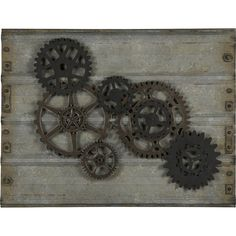 The handsome Gear Wall Hanging will bring style to any space. Rusted black  and brown